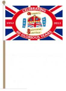 Queen's Diamond Jubilee Large Hand Flag, 60 Glorious Years.
